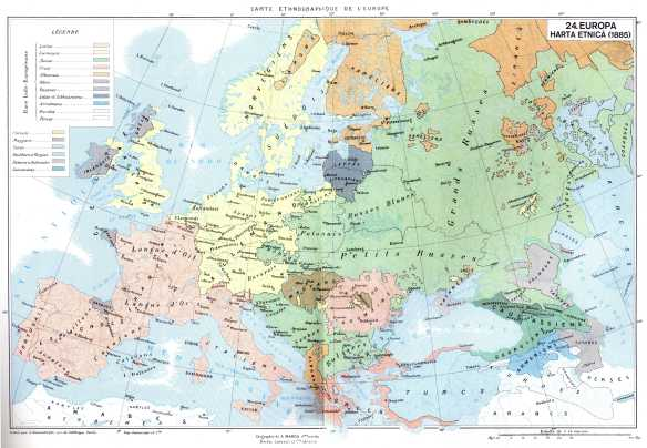 Harta etnica a Europei - 1885