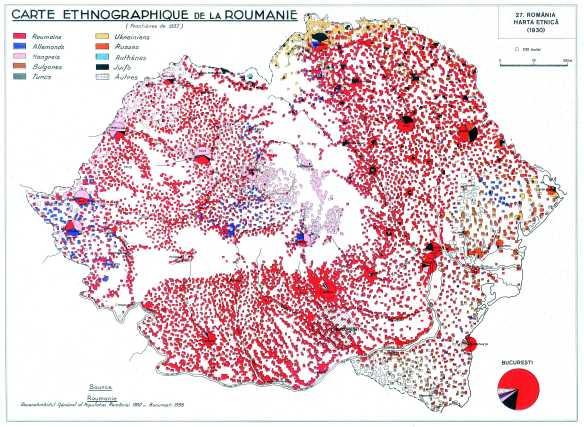 Romania Mare - Harta etnica la 1930
