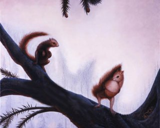 This isn't just a picture of two squirrels on a branch. Can you see the hidden image within