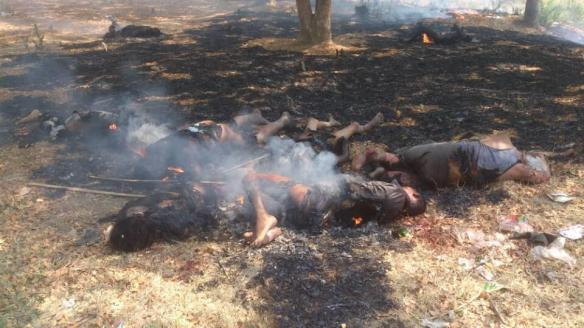 The charred bodies of Muslim who were burnt alive by terrorist Buddhist mob and monks called 969 campaign with the presence of police in Meiktilar city, Myanmar. The police and authorities were not stopping them to kill Muslim, to burn Muslim and their homes and to torch the Mosques in broad day light. Photo Credit – Maung Nyan