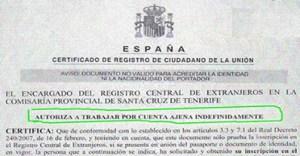certificado de registro de ciudadano de la union